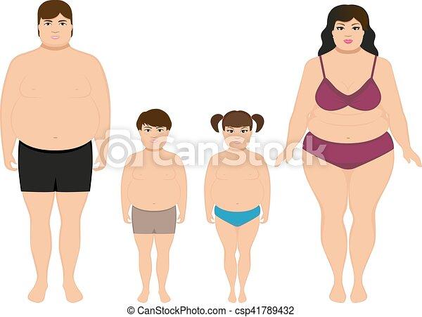vecteur, dessin animé, excès poids, heureux, graisse, famille - csp41789432