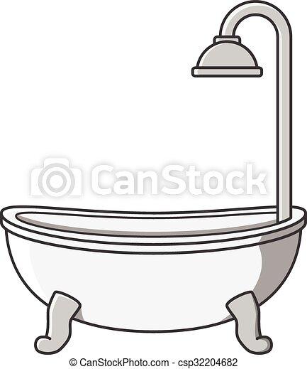 Vecteur dessin anim illustration baignoire - Email de baignoire abime ...