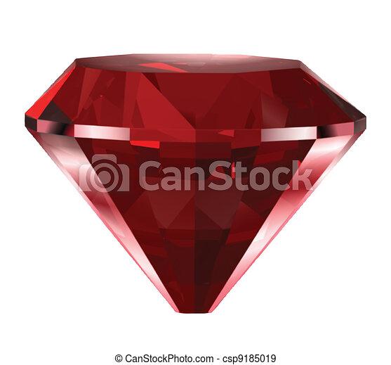 vecteur, diamant, isolé, rouges, white. - csp9185019