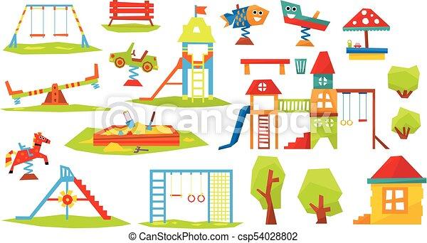 vecteur, enfants, illustration, cour de récréation - csp54028802