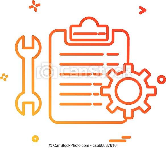 vecteur, engrenage, chèque, clé, icône, liste, conception, monture - csp60887616