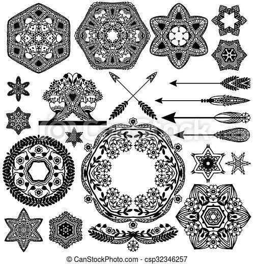 vecteur, ensemble, éléments, décorations, frames., vendange, objets, retro, ornements, ton, design. - csp32346257