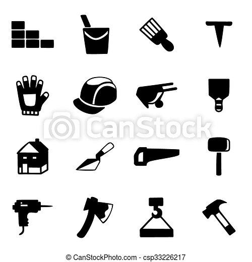 vecteur, ensemble construction, icône - csp33226217