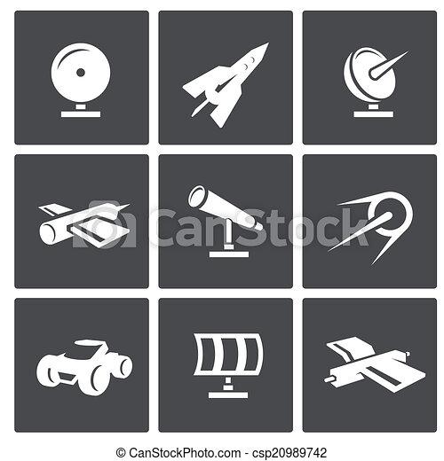 vecteur, ensemble, espace, icônes - csp20989742