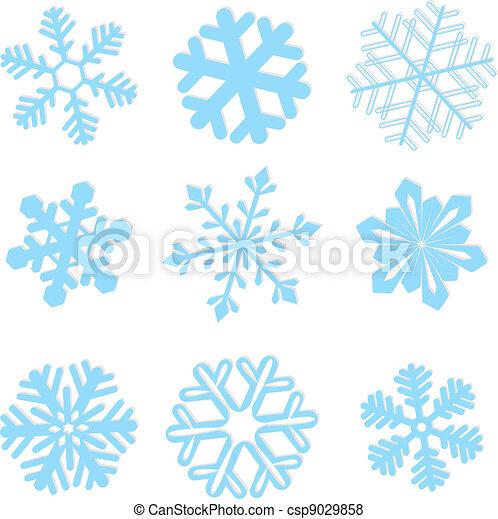 vecteur, ensemble, flocon de neige, illustration, hiver - csp9029858