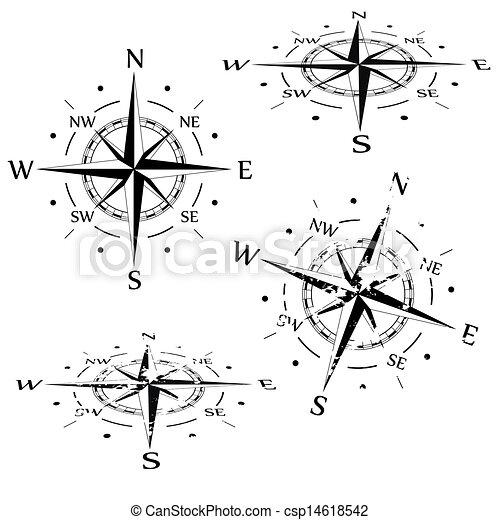vecteur, ensemble, grunge, compas - csp14618542