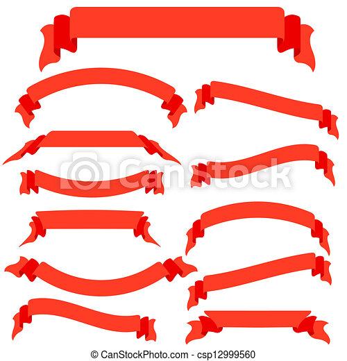 vecteur, ensemble, illustration, bannières, rubans, rouges - csp12999560