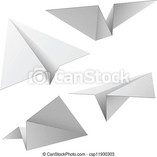 vecteur, ensemble, isolé, arrière-plan., papier, avions, blanc - csp11930303