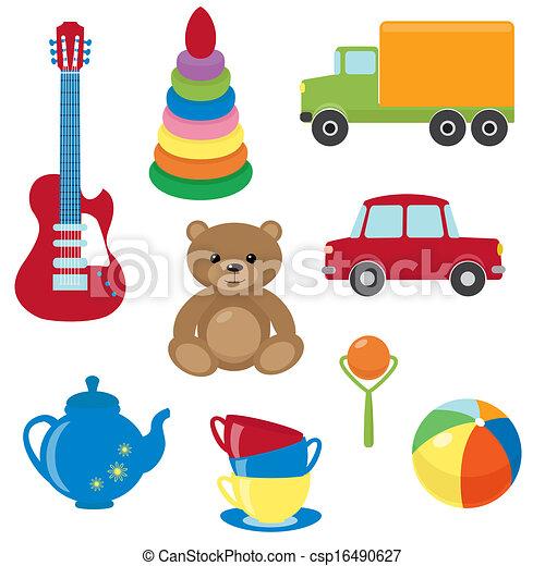 vecteur, ensemble, jouets - csp16490627