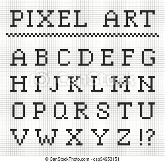 Vecteur Ensemble Lettres Pixel Font