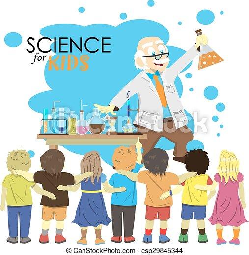 Vecteur exp rience gosses science illustration scientifique chimie laboratory dessin - Coloriage petit scientifique ...