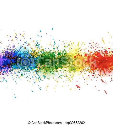 vecteur, fait, coloré, peinture, affiche, arrière-plan., clair, stains., eclabousse, bannière - csp39852262
