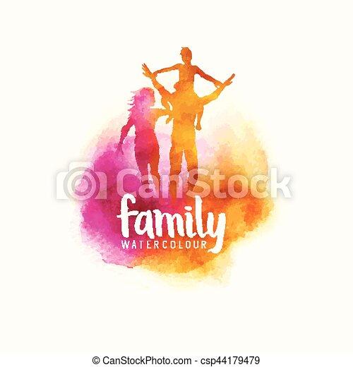 vecteur, famille, aquarelle - csp44179479