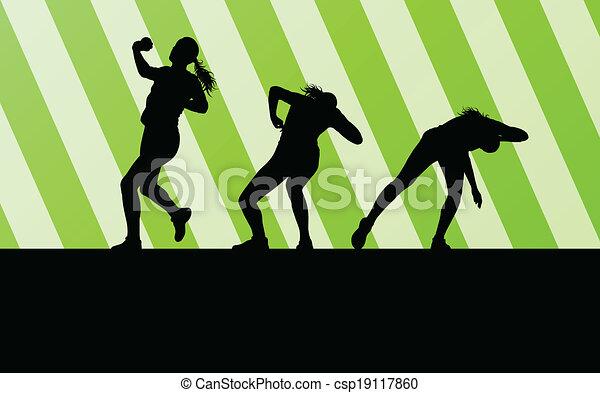 vecteur, femme, coup, athlétique, concept, fond, mettre - csp19117860