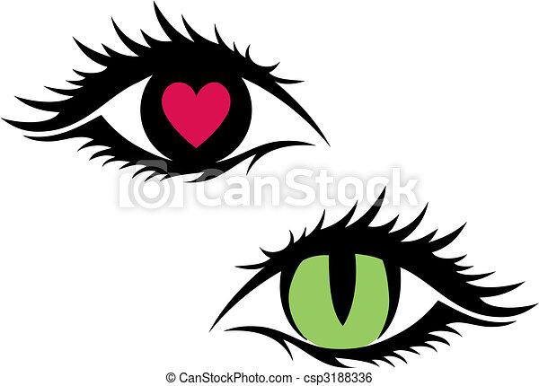 vecteur femme yeux oeil coeur chat vecteur rouge vert. Black Bedroom Furniture Sets. Home Design Ideas