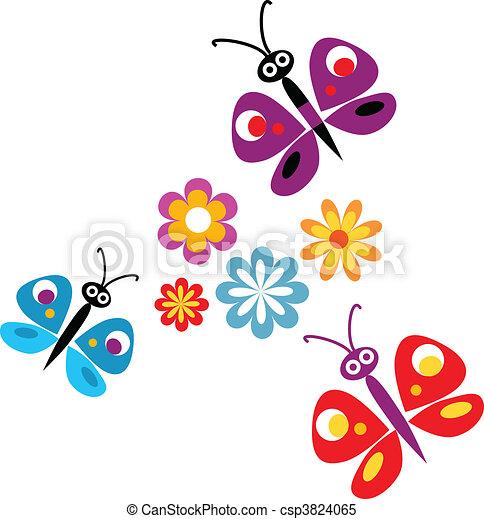 vecteur fleurs papillons printemps illustration papillons fleurs printemps color. Black Bedroom Furniture Sets. Home Design Ideas