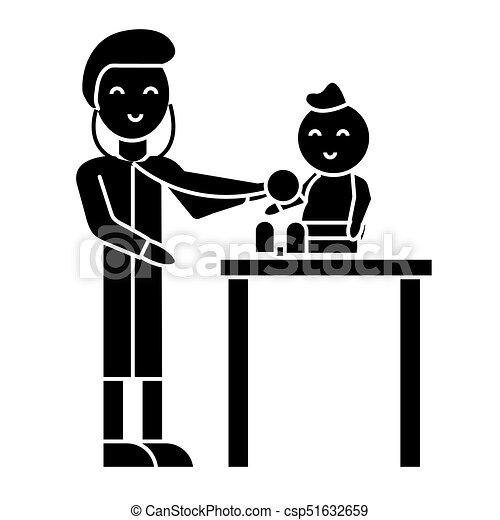vecteur, fond, enfant, icône, isolé, pédiatre, signe, illustration - csp51632659