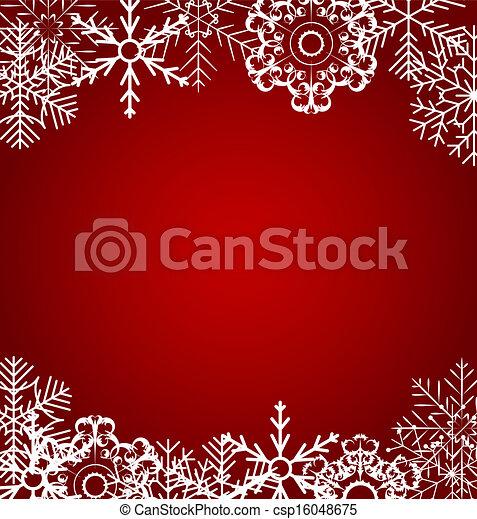 vecteur, fond, noël, illustration, flocons neige - csp16048675