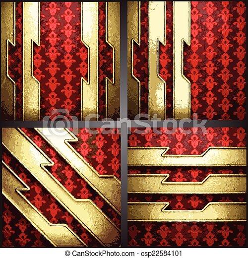 vecteur, fond, or, rouges - csp22584101