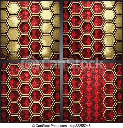 vecteur, fond, or, rouges - csp22255248