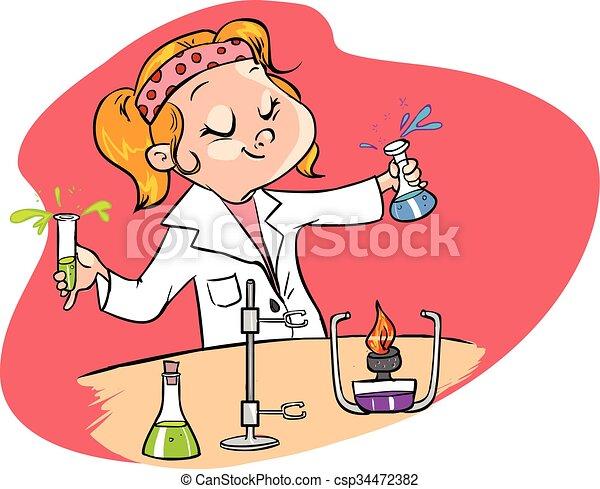 vecteur, fond, scientifique, rouges, mignon, jeune, illustration - csp34472382