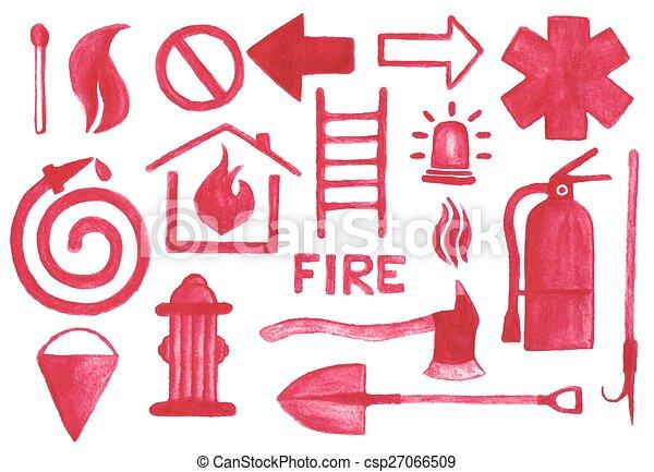 vecteur, fond, signes, aquarelle, aquarelle, firefighting, pencil., blanc, set., icônes, illustration. - csp27066509