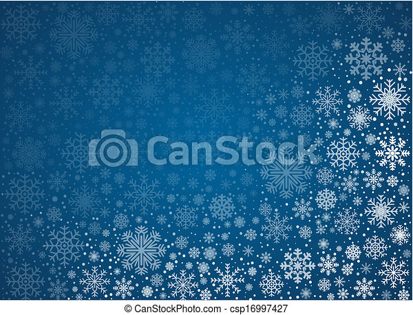 vecteur, glacial, fond, flocons neige - csp16997427
