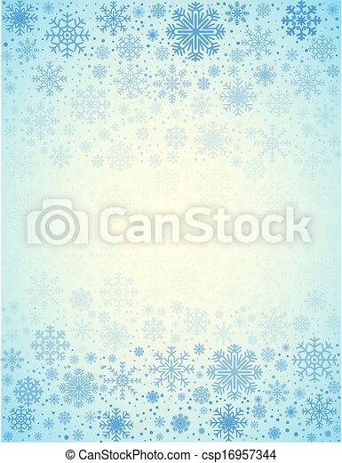 vecteur, glacial, fond, flocons neige - csp16957344