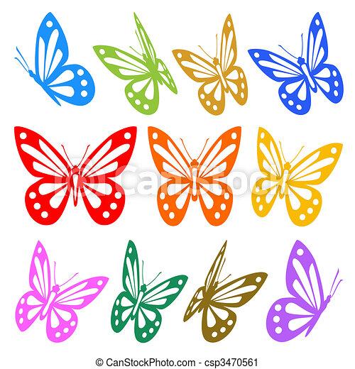 vecteur, graphique, coloré, -, silhouettes, papillons, ensemble - csp3470561