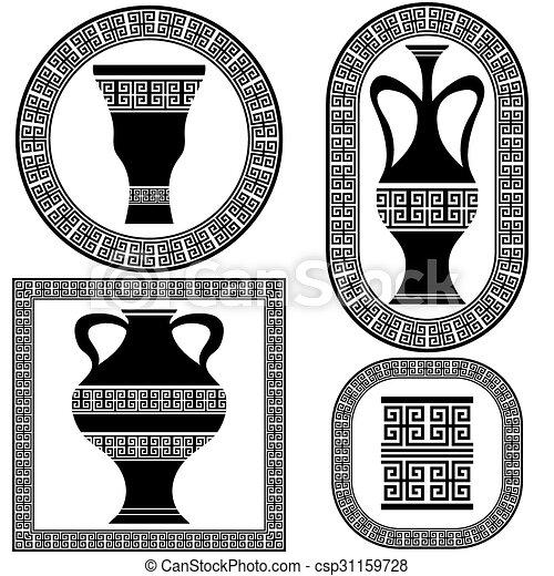 vecteur, grec, cadres, ensemble - csp31159728