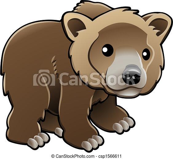vecteur, grisonnant, ours brun, mignon, illustration - csp1566611