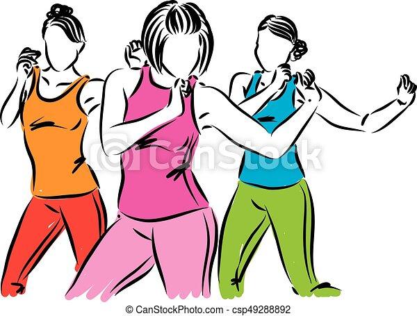 vecteur, groupe, femmes, illustration, danseurs - csp49288892