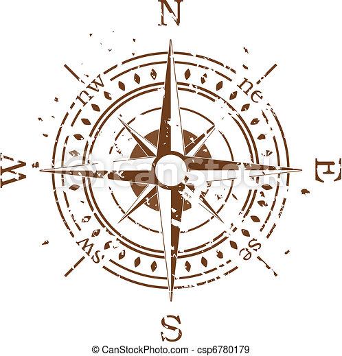 vecteur, grunge, compas - csp6780179