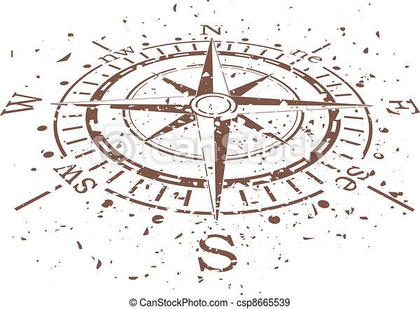 vecteur, grunge, compas - csp8665539