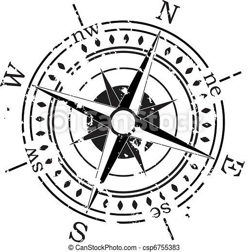 vecteur, grunge, compas - csp6755383