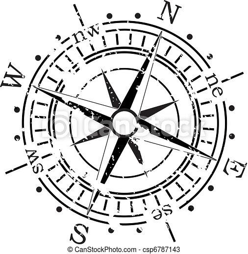 vecteur, grunge, compas - csp6787143