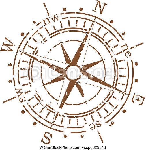 vecteur, grunge, compas - csp6829543