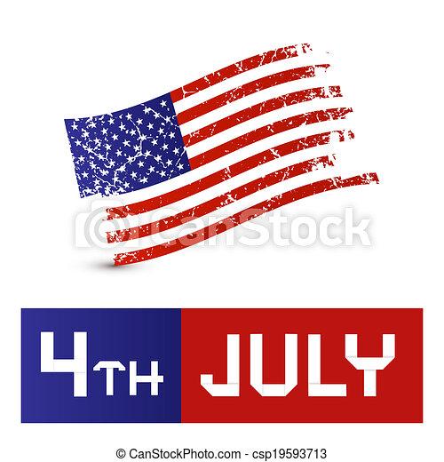 vecteur, grunge, symbole, -, drapeau américain, 4ème, sale, juillet - csp19593713