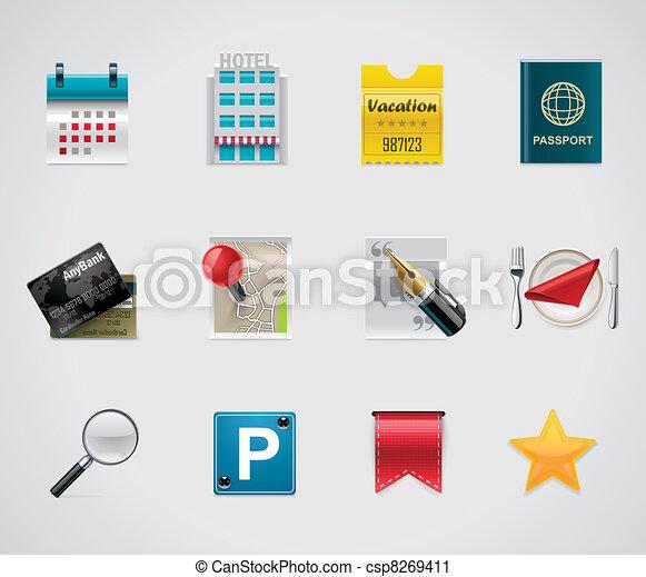 vecteur, hôtel, voyager, icônes - csp8269411