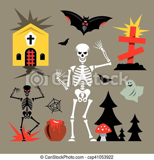 Vecteur Halloween Dessin Animé Cimetière Illustration