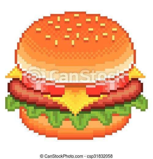 Vecteur Hamburger Pixel Isolé