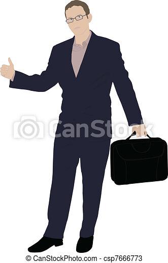 vecteur, homme affaires, jeune - csp7666773