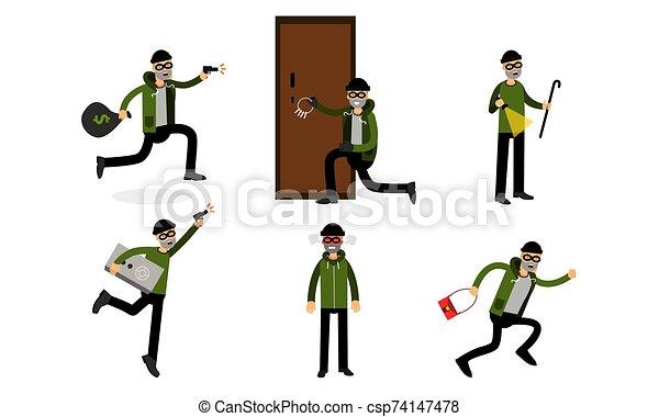 vecteur, illustration, fond, isolé, blanc, ensemble, caractère, voleur, dessin animé - csp74147478