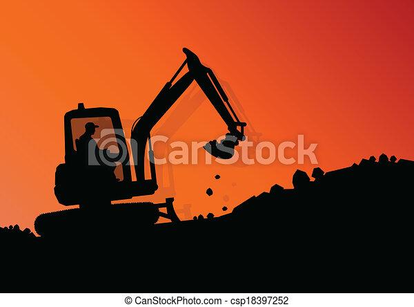 vecteur, industriel, creuser, excavateur, ouvriers, site, illustration, chargeur, machine, construction, hydraulique, fond, tracteur - csp18397252