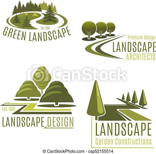 vecteur, landscaping, compagnie, icônes, nature - csp52155514