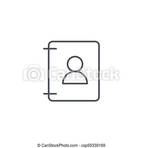 Vecteur Lineaire Contacts Symbole Livre Mince Adresse Ligne Icon
