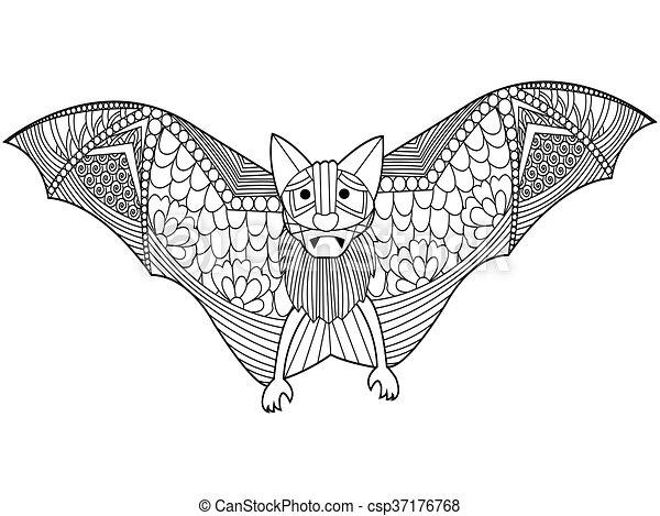 Vecteur livre chauve souris coloration adultes - Modele dessin chauve souris ...