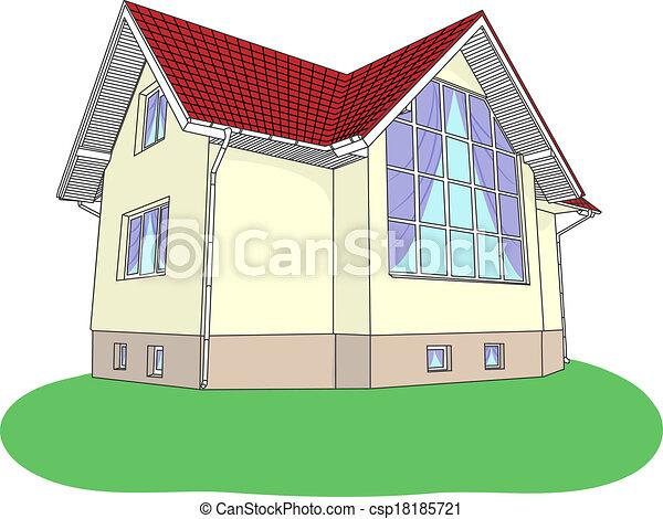 vecteur, maison, pelouse, vitrail - csp18185721