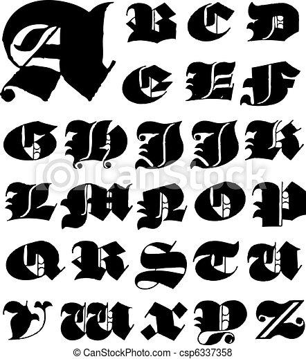 Vecteur majuscule ensemble gothique lettre tout vecteur vecteur majuscule ensemble gothique lettre csp6337358 thecheapjerseys Image collections
