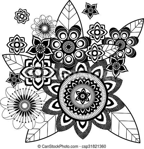 Vecteur mandala fleur zentangle clip art vectoriel - Mandala fleur ...